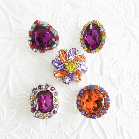 Purple rhinestone buttons
