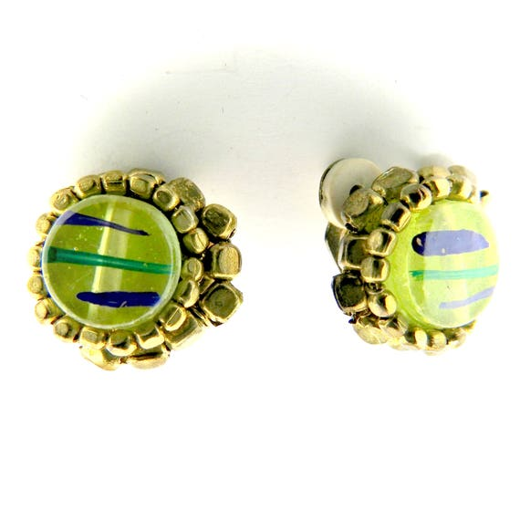 Green round button clips earrings for women.