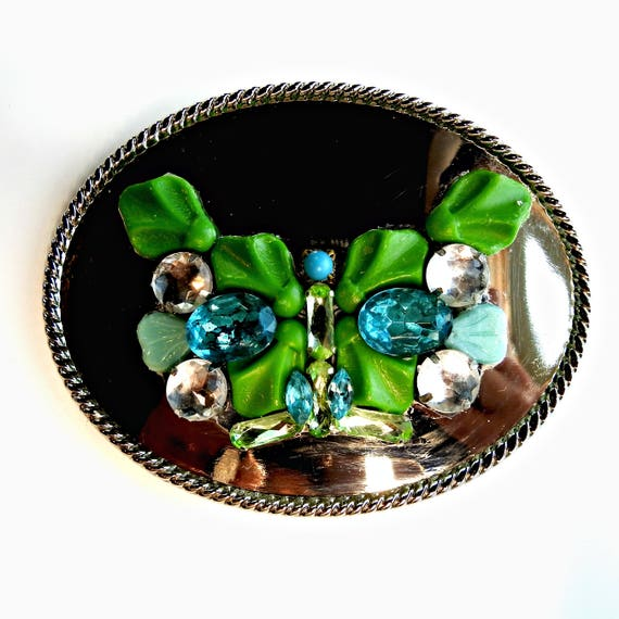 BELT BUCKLE rhinestone BUTTERFLY blue boho chic women embellished rhinestone adornment western belt buckles for her accessory statement