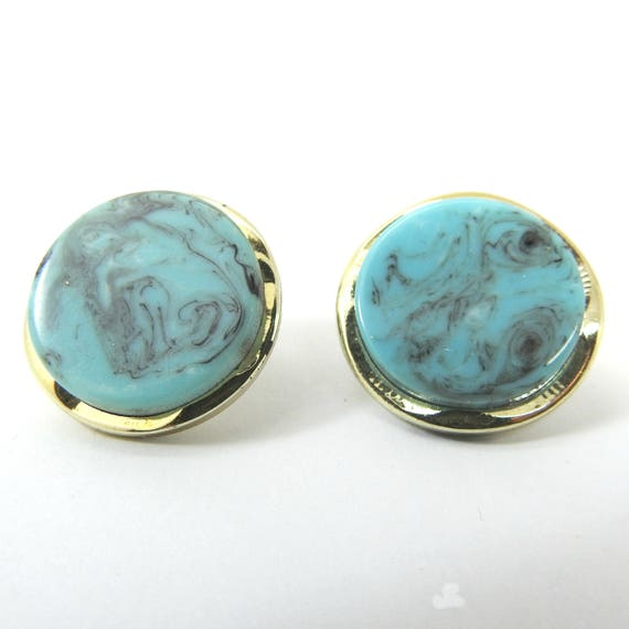 BLUE ROUND CLIPS unpierced ears for non pierced ears ears not pierced ears unpierced blue  pierced clips non pierced