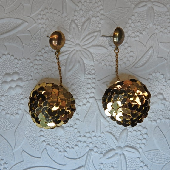 Sequin ball drop earrings gold disco dangle party hanging wear stud dance costume