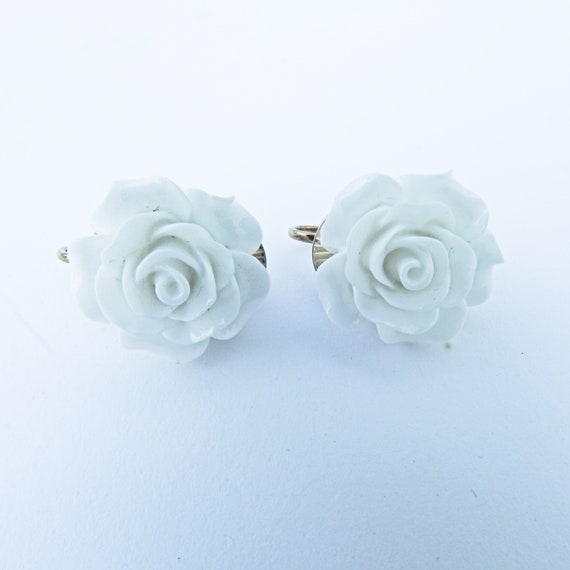 White clip on earrings for women