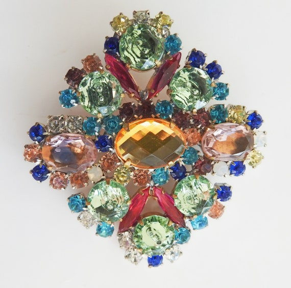 Blue-green and pink rhinestone brooch pin