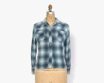 Vintage 50s Western SHIRT / 1950s H Bar C Women's Snap Front Shadow Plaid Flannel Blouse S - M