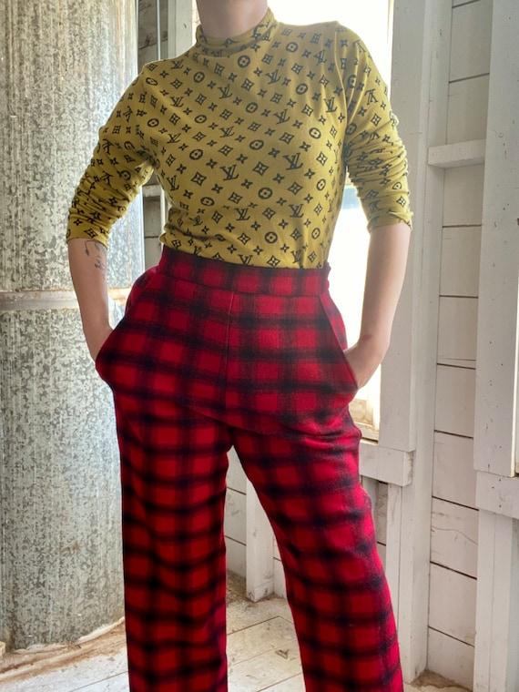 Vintage 60s Plaid Wool Pants / 1960s Buffalo Plaid