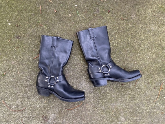 Vintage Frye Harness Boots / Women's Black Leather