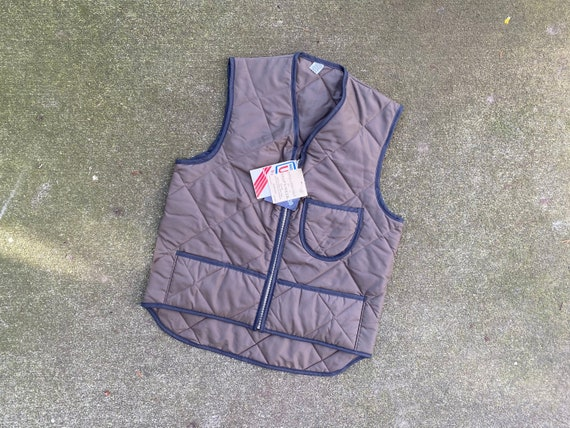 Vintage 70s Quilted Work Vest / 1970s Deadstock Pu