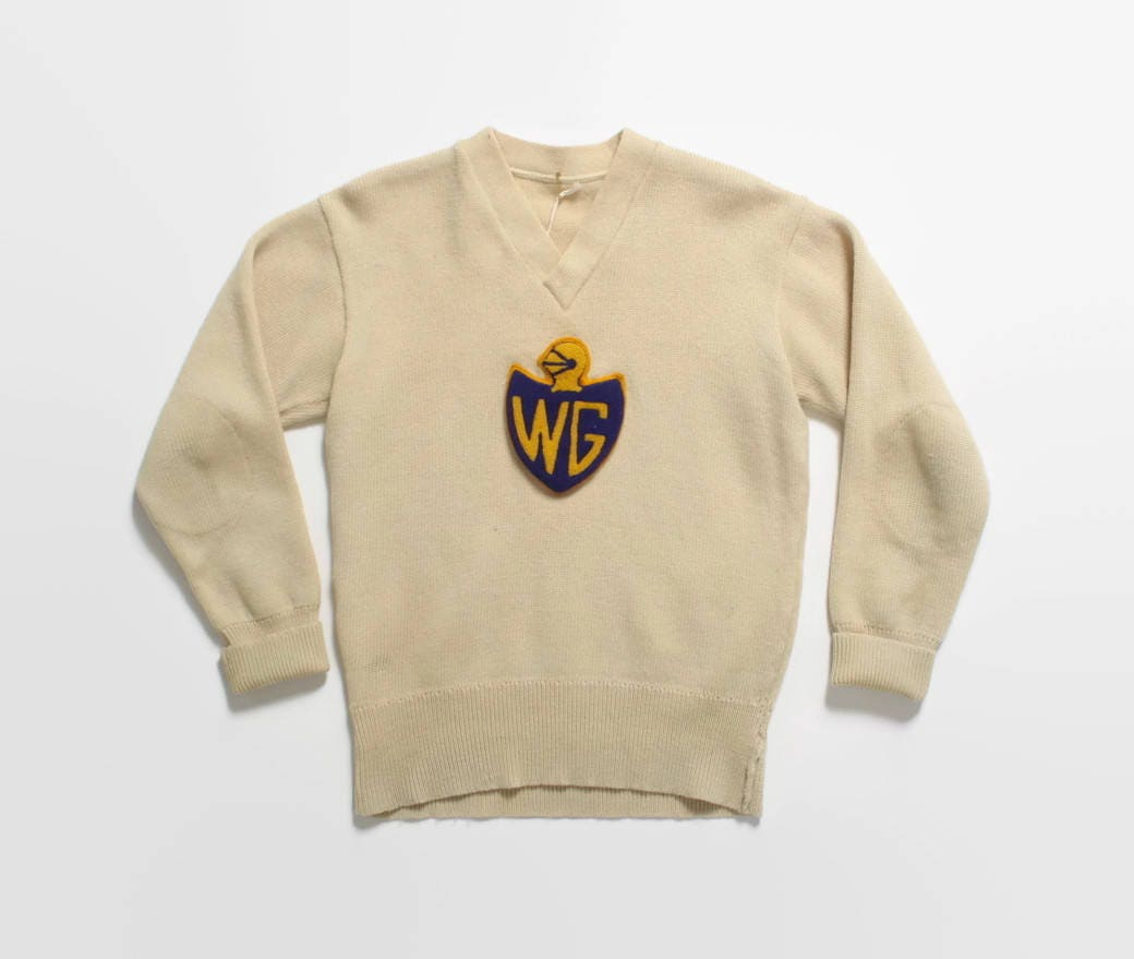 Vintage Varsity 1960s Cream Wool High School Band Orchestra Crewneck Sweater Sz 44