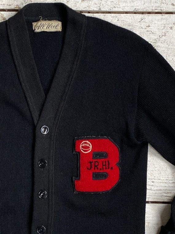 Vintage 50s Varsity Sweater / 1950s Jr Hi Wool Le… - image 5