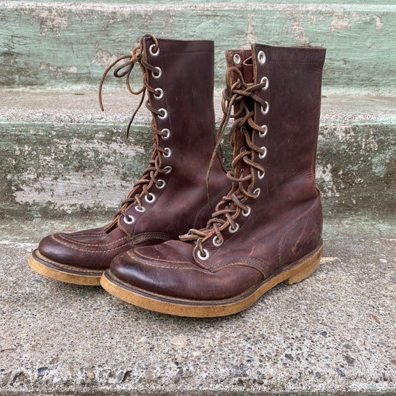 Vintage 60s Women's Work BOOTS / 1960s Lace-Up Dar