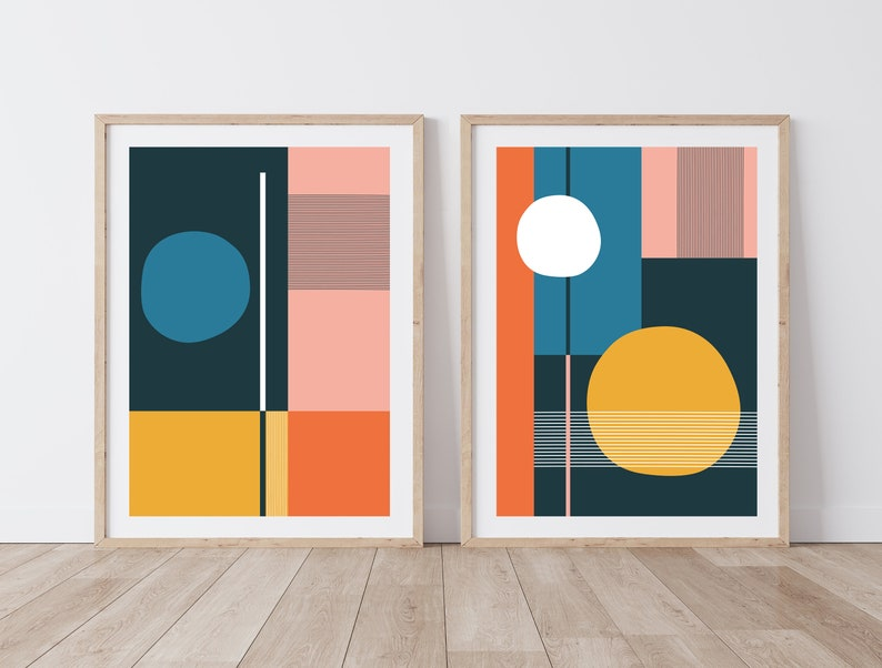 Pair of Colorful Mid Century-Inspired Geometric Prints