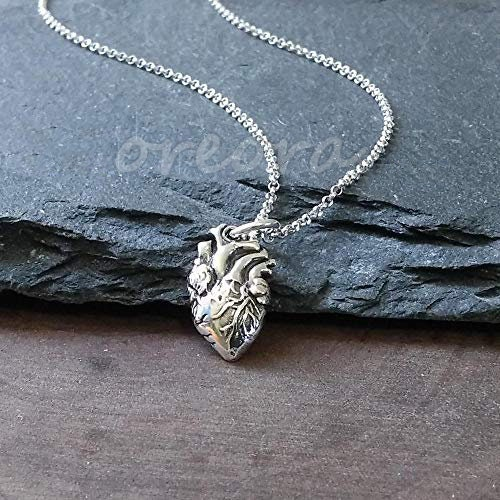 Anatomical Heart Necklace Sterling Silver, Heart Jewelry, Heart Necklace,Realistic Heart Necklace, Valentine, Mother's day gift