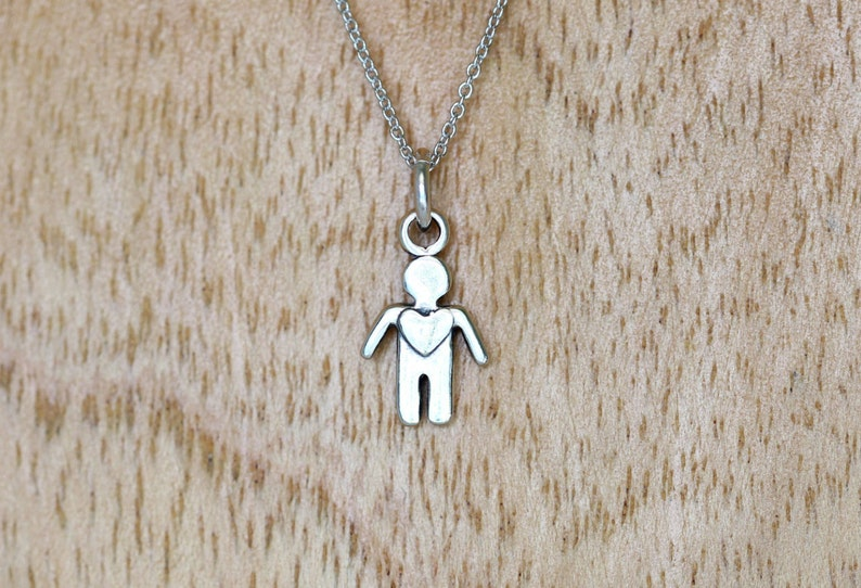 Little Boy Charm Necklace Rhodium Sterling silver chain and Gift box included. Sterling Silver