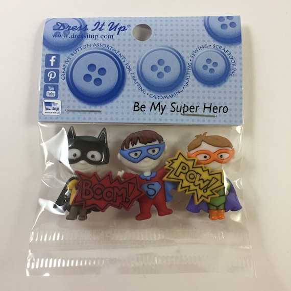 "1 1//4/"" 2 Novelty Buttons new BAT KID SUPER HERO"