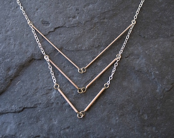 Triple Chevron Necklace. Upcycled Guitar String Jewelry. Simple, Elegant.
