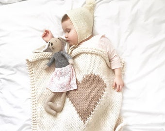 Heart Baby Blanket Cream and Desert Beige Hand Knit for Bassinet, Stroller or Car Seat