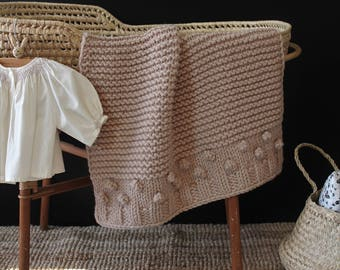 The Bobble Bassinet Size Hand Knit Baby Blanket