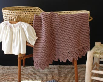 The Lace Bassinet Size Hand Knit Baby Blanket