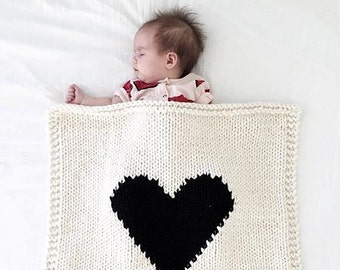 Heart Blanket Cream and Black Hand Knit, Baby Blanket, Bassinet Blanket, Baby Shower, Modern Baby Blanket