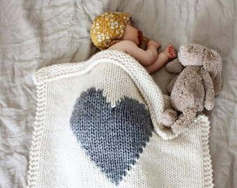Baby Blanket Heart Cream and Grey, Baby Blanket Knitted for Bassinet, Baby Shower, New Baby, Stroller Blanket