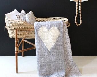 Heart Baby Blanket, Grey Crib Size Baby Blanket, Knit Baby Blanket, Hand Knit Blanket, New Baby, Baby Shower