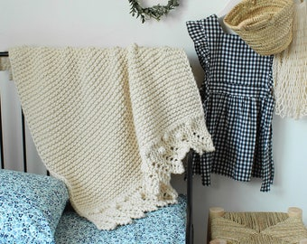 Baby Blanket The Bobble/Lace Combo Crib Size Hand Knit
