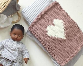 Doll Blanket Heart or Hi Hand Knit