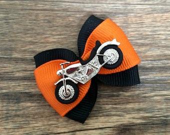 Motorcycle Hair Bow-Harley Davidson Hair Bow-Motorcycle Baby Bow-Motorcycle Dog Bow-Motorcycle Club Hair Bow-Harley Dog Bow-Harley Baby