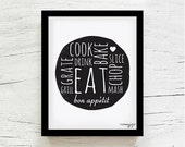 Kitchen art Kitchen decor Inspirational quote Typography Eat sign Gift for mom Foodie gift Kitchen art print 8x10 Black white By MossyJojo