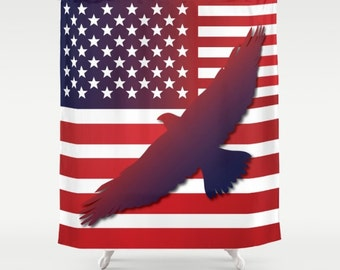 American Eagle Flag Shower Curtain USA Flag Curtain Flag Art Military Shower  Curtain Eagle Curtain Independence Day Curtain Patriot Curtain