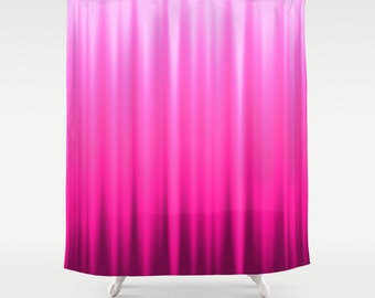 Pink Shower Curtain Striped Curtains Magenta Abstract Wave Nature Colors 60x72 Inch 71x74 66x72