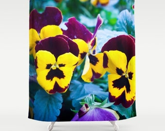 Pansies Shower Curtain Flower Nature Photo Violet Floral Art Flowers 60x72 Inch 71x74 66x72