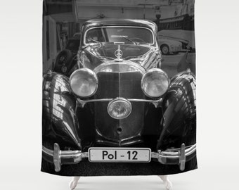 Vintage Car Photography Shower Curtain Retro Mechanic Black Photo Modern Antique