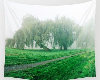 Foggy trees Tapestry Green trees tapestry Foggy green trees tapestry Forest Tapestry Photo Tapestry Nature Tapestry Wall Hanging