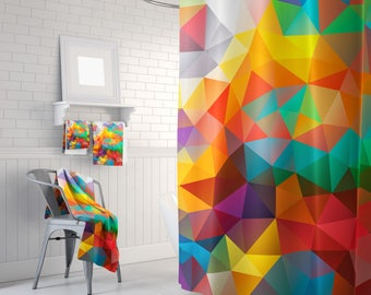 Geometric Shower Curtain Colorful Shower Curtain Triangles Abstract Curtain Mosaic Pattern Curtain Polygon Flowers Geometric Curtain