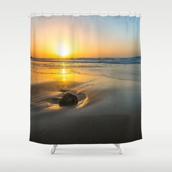 Sunset Photo Curtain Seaview Shower Nature