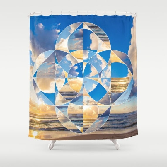 Sacred Geometry Shower Curtain Sunset HDR Photo Seaview Nature Beach