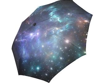 Galaxy Umbrella Space Umbrella Nebula Umbrella Purple Umbrella Stars Umbrella Art Umbrella Photo Umbrella Automatic Fordable Umbrella