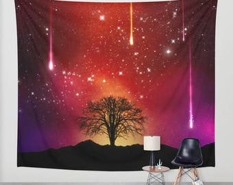 Tree Wall tapestry Space wall tapestry Galaxy wall art Violet wall tapestry Red space tapestry Galaxy tapestry Violet Space wall hanging