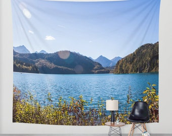 Water Tapestry Photo Tapestry Nature Tapestry Wall Hanging Modern Tapestry Alpsee Lake Tapestry Alpen Tapestry Forest Tapestry Blue Tapestry