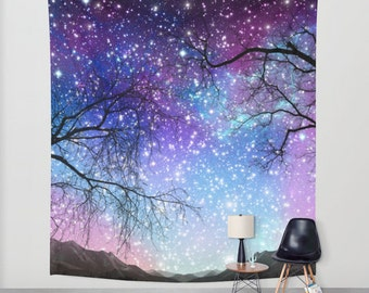 Tree Space tapestriy Space wall tapestry Galaxy wall art Mountain Space tapestry Blue space tapestry Galaxy tapestry Space wall hanging