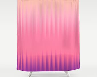Pink Shower Curtain Striped Curtains Solid Abstract Wave Violet Nature Colors