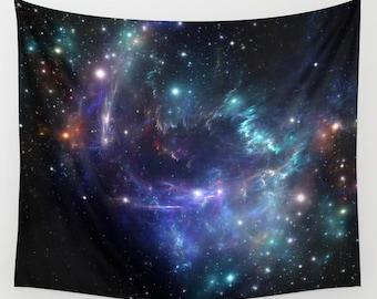 Blue Nebula tapestriy Space wall tapestry Galaxy wall art Violet Nebula wall tapestry Blue space tapestry Galaxy tapestry Space wall hanging