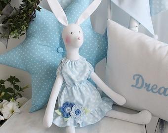 White Tilda bunny girl blue  summer dress
