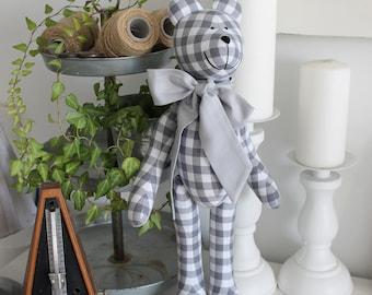 Big gray retro checkered bear Tilda toy