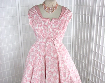 1950s Pink Cotton Sun Dress by Marjae of Miami   .........  SIZE 12