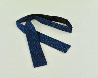 bdd1b3ded03cb 1950s Deco Patterned Blue Silk Twill Self Tie Bow Tie.....Adustable