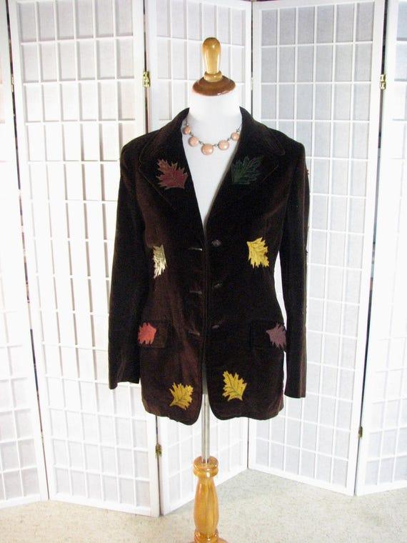 1970s Austin Hill Brown Velvet Blazer with Hand P… - image 1