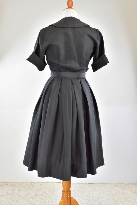 1950/60s Black Silk Button Down Shirtwaist Dress … - image 5