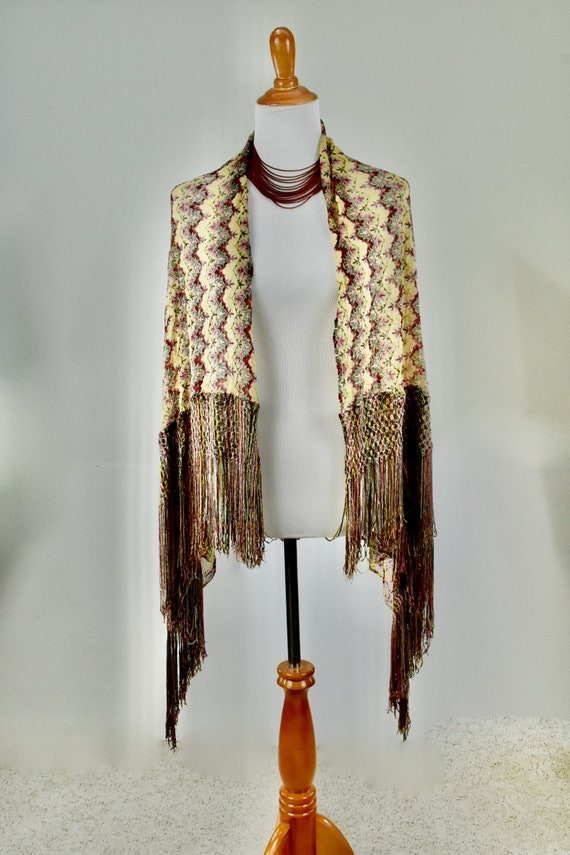 1930s Silk Knit ART DECO  Scarf/Shawl